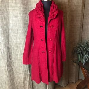 Size XL 100%Wool Red Sweater Coat